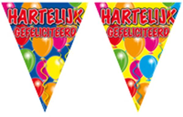 Vlaggenlijn Hartelijk gefeliciteerd ballonnen 10m