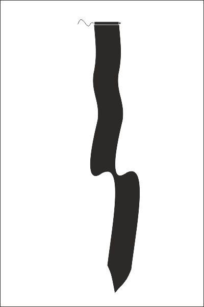 Zwarte wimpel 25x300cm rouwwimpel met koord en lus