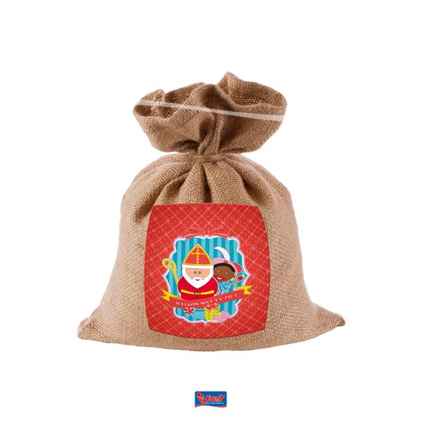 Jute strooizak van Sinterklaas voor snoepgoed mini