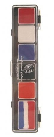 Luxe Schminkset Rood, Wit, Blauw, Oranje met kwast