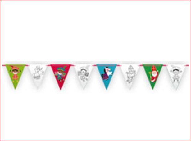 Sint en Piet vlaggenlijn zelf inkleuren 6m Sinterklaas