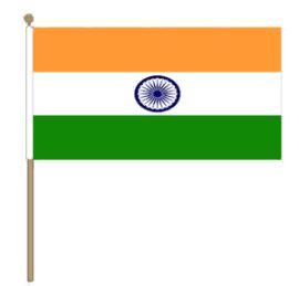 Zwaaivlag India, Indiase zwaaivlag 15x22,5cm, stoklengte 30cm