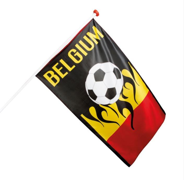 Belgische vlag met voetbal België 90x150cm