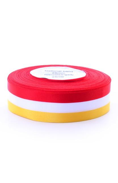 Lint Carnaval Oeteldonk rood/wit/geel 25mm breed op rol 25m1