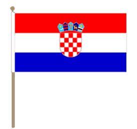 Zwaaivlag Kroatië, Kroatische fanvlag 30x45cm, stoklengte 60cm