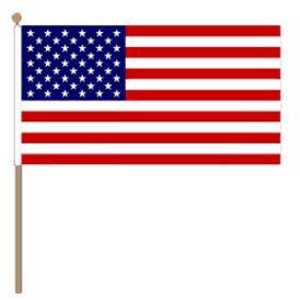 Zwaaivlag Amerika, VS, USA 15x22,5cm, stoklengte 30cm