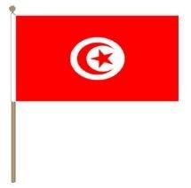 Zwaaivlag Tunesië 30x45cm, stoklengte 60cm