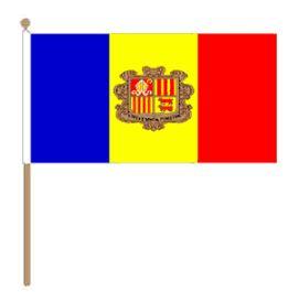 Zwaaivlag Andorra, Andorrese fanvlag 30x45cm, stoklengte 60cm