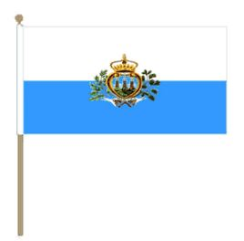 San Marinese zwaaivlag San Marino met wapen 30x45cm,stoklengte 60cm