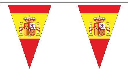 Spaanse vlaggenlijn Spanje met wapen driehoekig 5m
