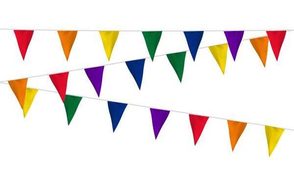 Regenboog vlaggenlijn stof 20m, extra zware kwaliteit