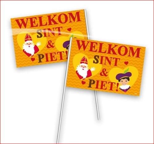 Welkom Sint en Piet zwaaivlaggetjes 20x30cm plastic