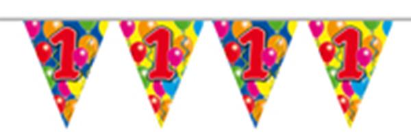 Vlaggenlijn gefeliciteerd 1 jaar ballonnen 10m