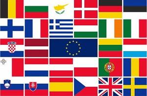 Vlag met de vlaggen van de EU landen 150x225cm