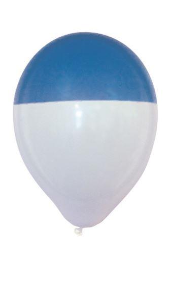 Ballon wit blauwe dip bicolour 25 stuks