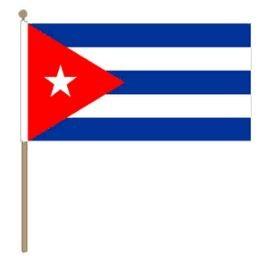 Zwaaivlag Cuba, Cubaanse fanvlag 30x45cm, stoklengte 60cm