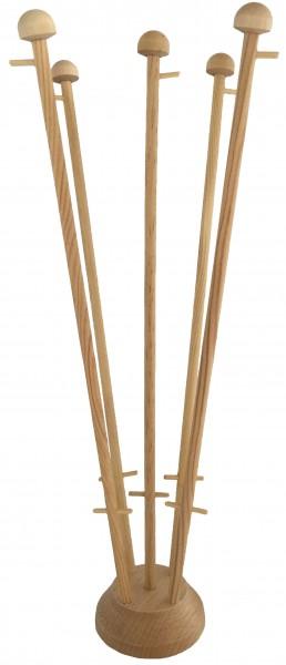 Houten tafelstandaard voor vijf tafelvlaggen met masten