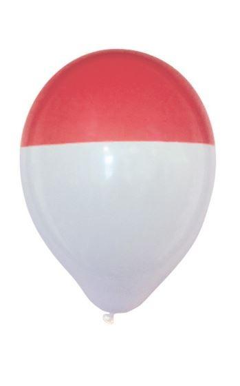 Ballon rood en wit bicolour 25 stuks