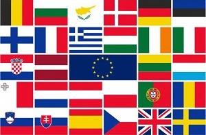 Vlag met de vlaggen van de EU landen 150x225cm | Horecavlag