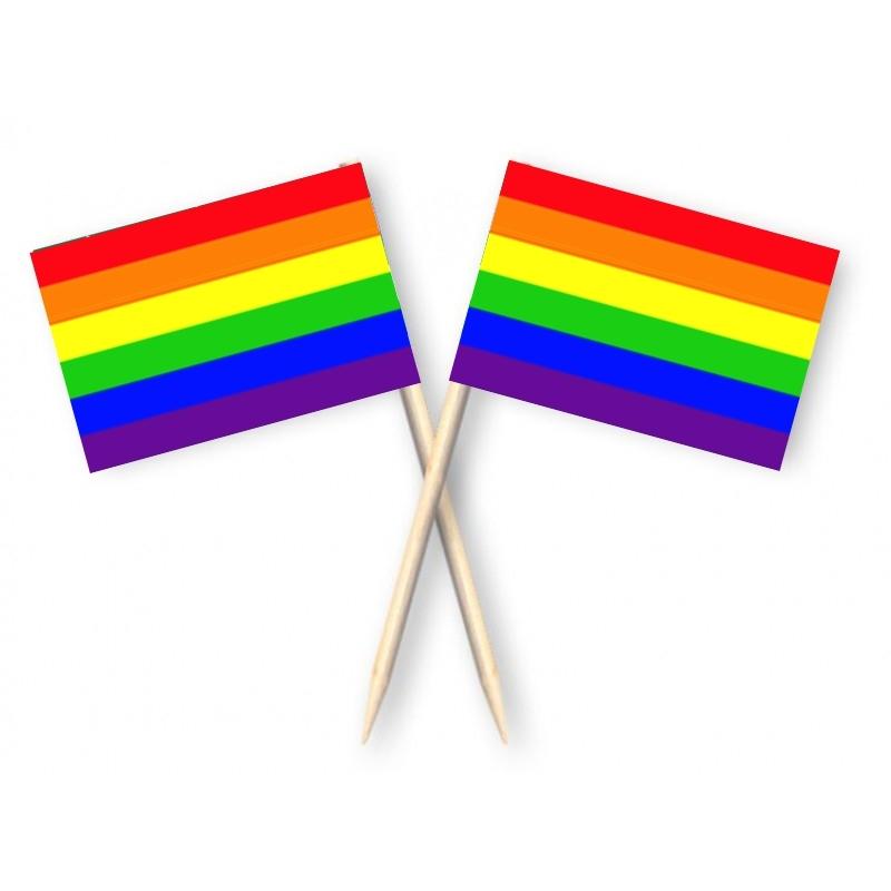 Cocktailprikkers met Regenboog vlag, Regenboog kaasprikkers, 50 stuks