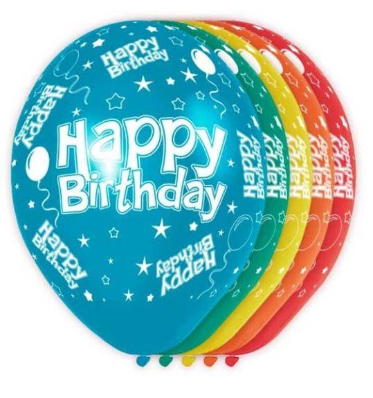Ballonnen Happy birtday, 30cm, 5 stuks