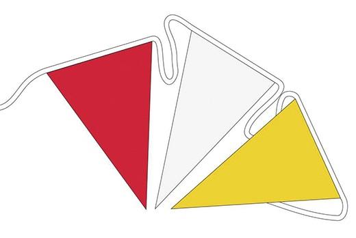 Vlaggenlijn Carnaval Oeteldonk rood/wit/geel 6m