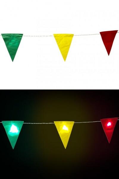 Vlaggenlijn Carnaval Rood Geel Groen 9 vlaggen met verlichting 3,25m