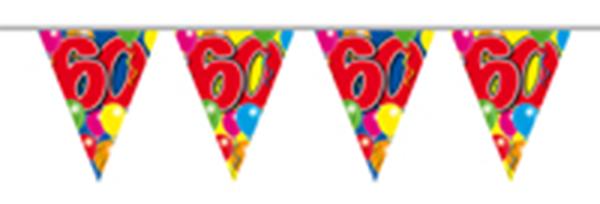 Vlaggenlijn gefeliciteerd 60 jaar ballonnen 10m