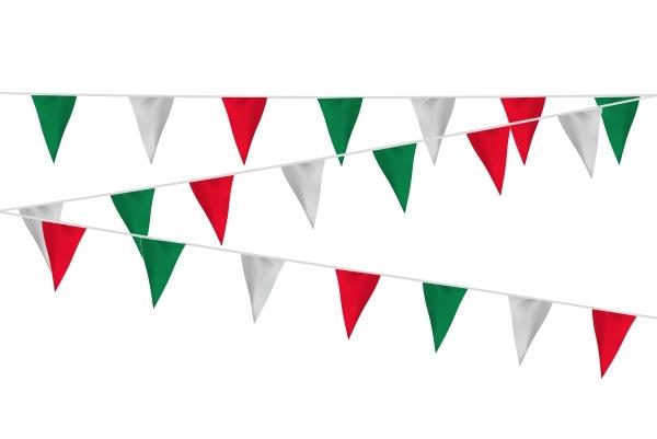 Vlaggenlijn rood/wit/groen extra zware kwaliteit stof 20m