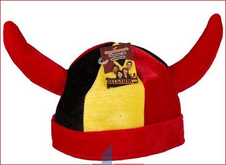 Voetbal Hoed Belgie met Rode Duivels hoorns