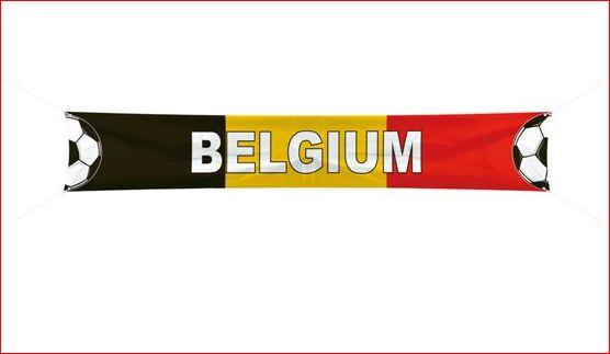 Spandoek Belgie EK, WK XXL voetbal 360x60cm, Rode Duivels banner