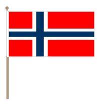 Zwaaivlaggetje Noorwegen, Noorse zwaaivlaggetje 15x22,5cm, stoklengte 30cm