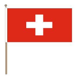 Zwaaivlag Zwitserland, Zwitserse zwaaivlag 15x22,5cm, stoklengte 30cm