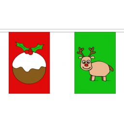 Kerst vlaggenlijn met 24 vlaggen lengte 8 meter