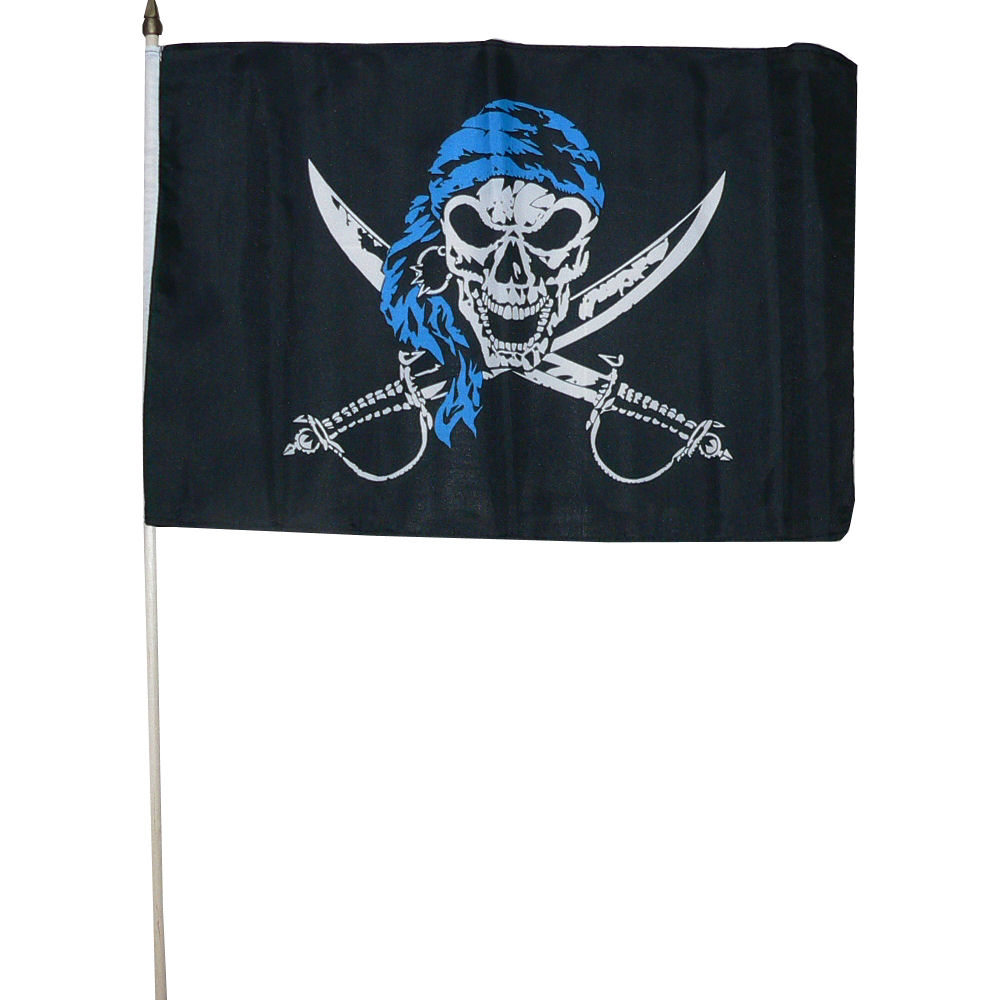 Zwaaivlag Piraat blauw 30x45cm