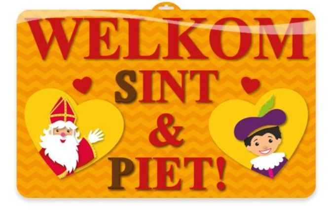 Sinterklaas deurbord wanddeco Welkom Sint en Piet 3D