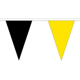 Vlaggenlijn stof Geel/Zwart 20m vlaggen lijn zwart geel