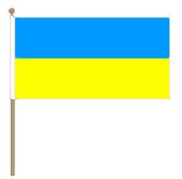 Zwaaivlag Oekraïne, Oekraïense zwaaivlag 30x45cm, stoklengte 60cm