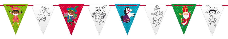 Sinterklaas vlaggenlijn kleuren zelf inkleuren 6m Sint en Piet
