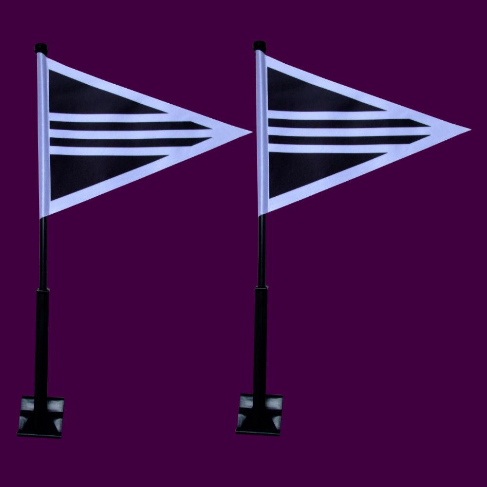Rouwstoetvlaggen set 2 stuks luxe zwarte stok