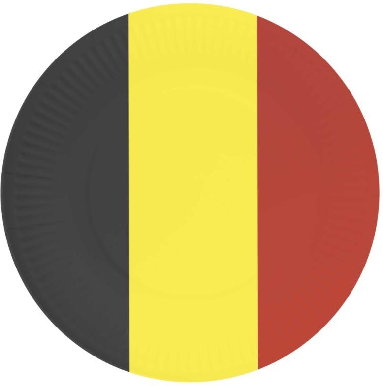 Papieren bordjes met belgische vlag opdruk, 23cm