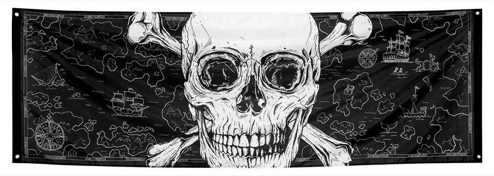 Piraten spandoek doodshoofd 74x220cm
