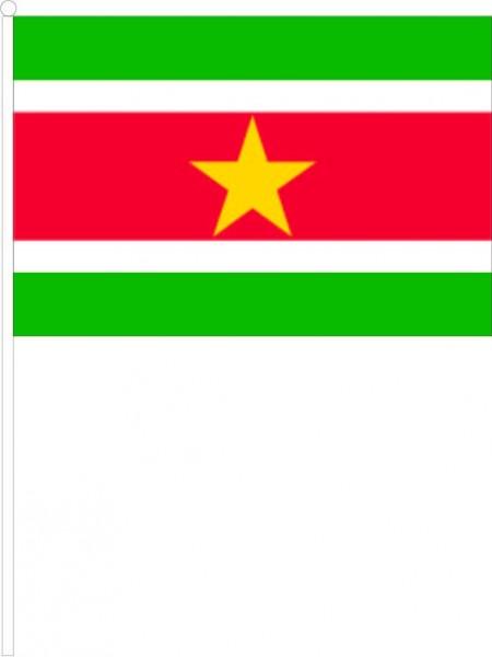 Zwaaivlag Suriname 20x30cm, stof, met plastic stokje