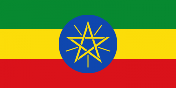 Tafelvlaggen Ethiopië 10x15cm   Ethiopische tafelvlag