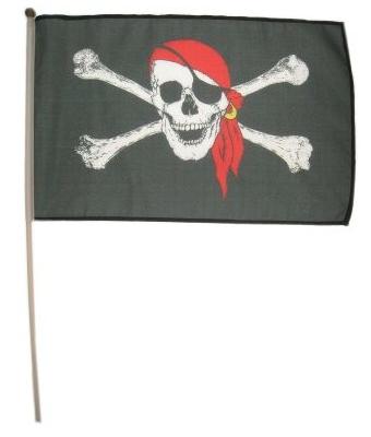 Zwaaivlag Piraat rood 30x45cm
