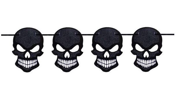 Slinger zwarte glitter skulls, doodskoppen 6m voor Halloween en Piratenfeest