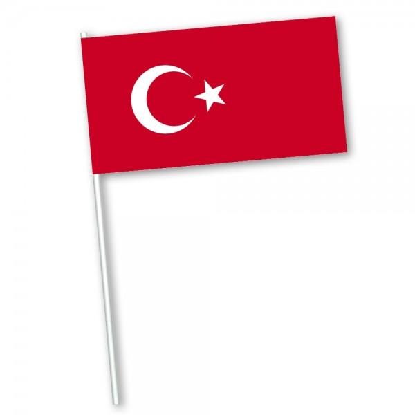 Zwaaivlag Turkije 15x22,5cm met houten stokje van 30cm
