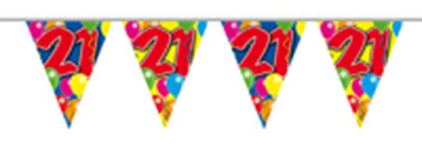 Vlaggenlijn gefeliciteerd 21 jaar ballonnen 10m