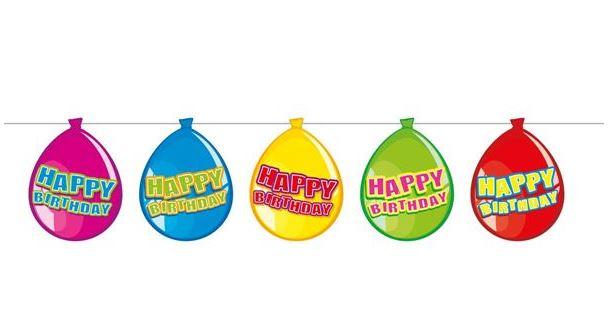 Vlaggenlijn ballonvorm Happy Birthday 10m