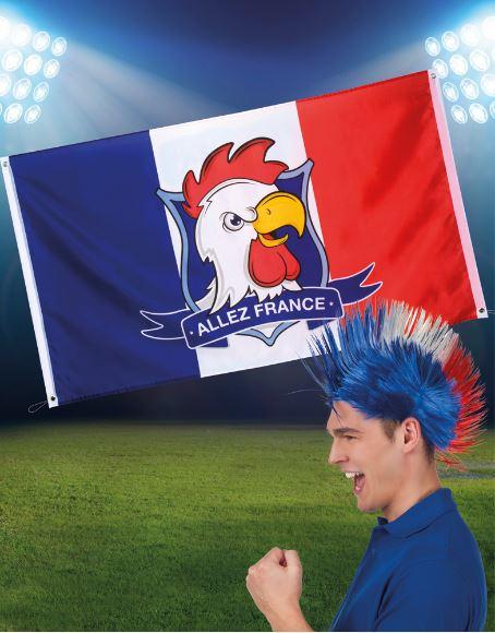 Vlag Frankrijk, Franse Fanvlag met haan tekst 'Allez France' 90x150cm